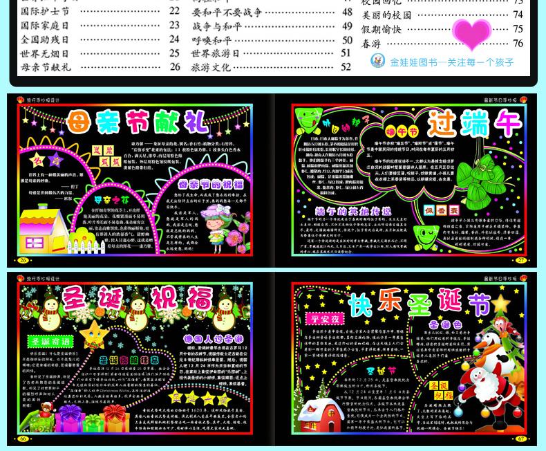 中国儿童文学 童话故事 正版小学生流行手抄报设计书 5册 创意墙报画
