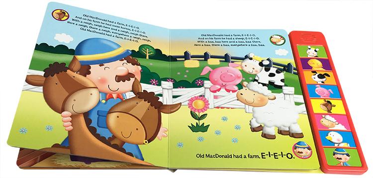 讲一个叫麦克唐纳(或麦当劳)的农民,在农场里饲养了各种动物,有鸡,鸭