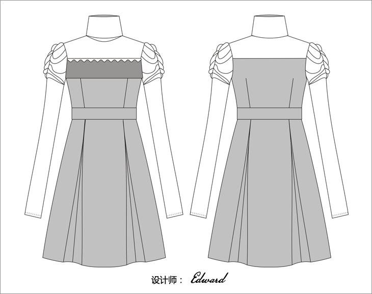 女式时装手绘设计图
