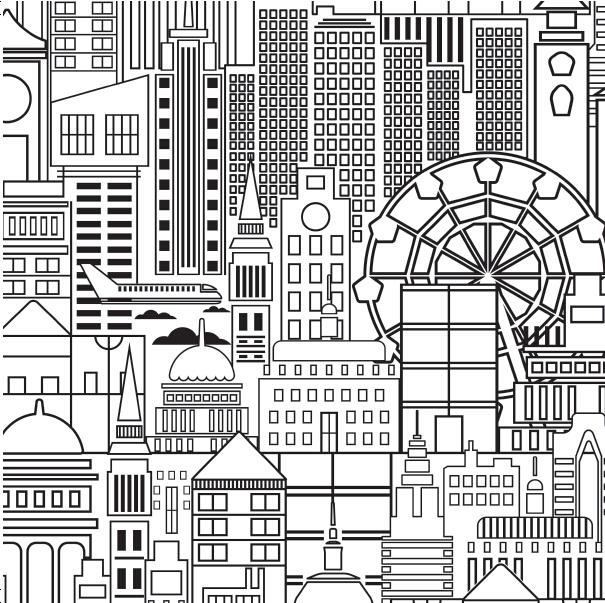 《撕乐涂手绘游戏-城市街景》(英国格林安卓出版社.
