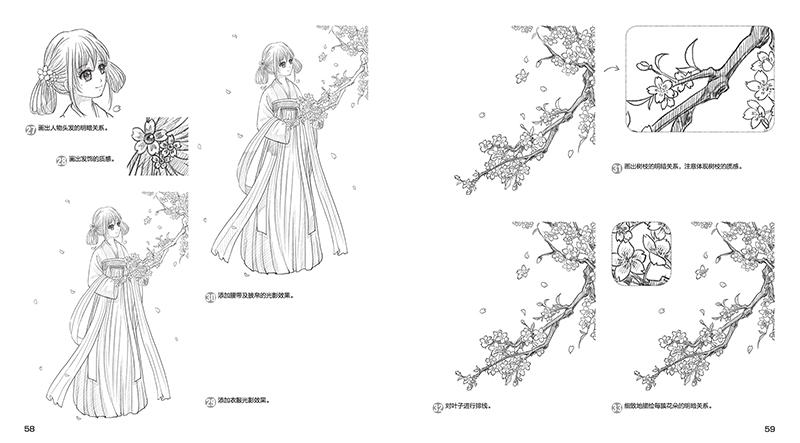 古风长裙服装手绘图片